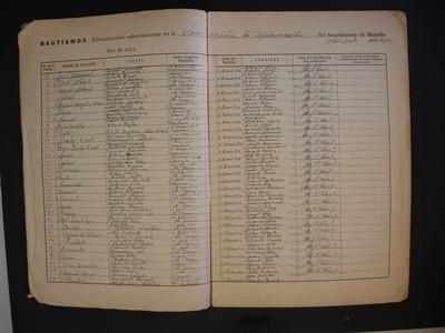 Cuadernillo del libro de bautismos de hijos legítimos y naturales 1972