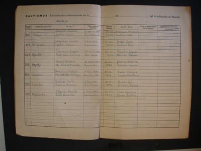 Cuadernillo del libro de bautismos