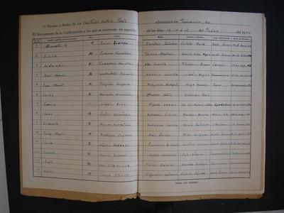 Cuadernillo del libro de confirmaciones Parroquia de la Inmaculada Concepción de Tepecoacuilco, Gro.