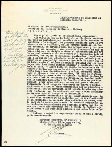 Memorias del general Lázaro Cárdenas: 1933
