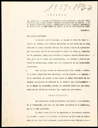 Memorias del General Lázaro Cárdenas: Informes como gobernador constitucional del estado de Michoacán, 1928-1932