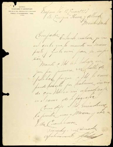 Memorias del general Lázaro Cárdenas: carta con datos para la impresión de su primer manifiesto