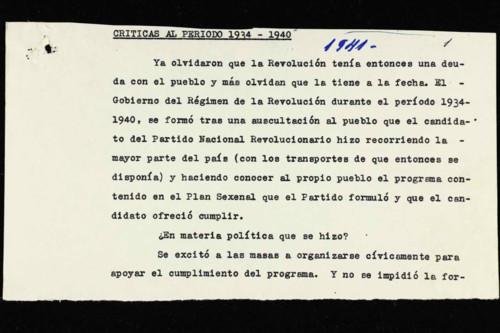 Memorias del general Lázaro Cárdenas: Año 1940