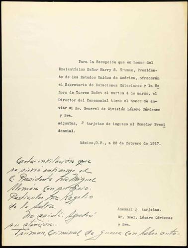 Memorias del general Lázaro Cárdenas: año 1947