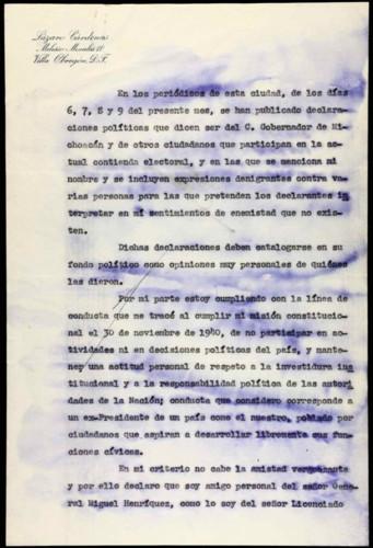 Transcripciones de las memorias del general Lázaro Cárdenas: aclaraciones a publicaciones de declaraciones políticas.