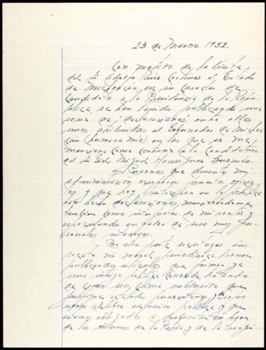 Memorias del general Lázaro Cárdenas: 23 de marzo 1952.