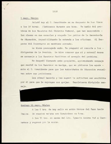 Transcripciones de las memorias del general Lázaro Cárdenas: Mayo 1958.