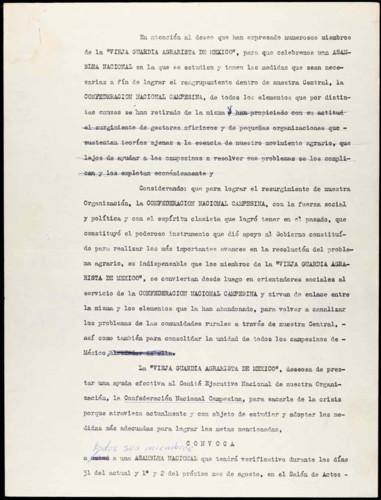 Vida personal del general Lázaro Cárdenas: Convocatoria a una asamblea nacional.