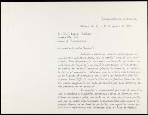 Vida personal del general Lázaro Cárdenas: Proyecto para el desarrollo integral de Acapulco.