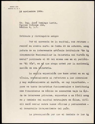 Vida laboral del general Lázaro Cárdenas: Nacionalización de la Industria del Carbón Mineral.