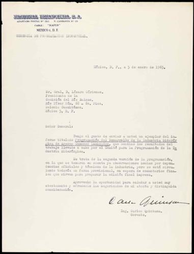 Vida laboral del general Lázaro Cárdenas: Envío de un informe referente a la Industria Siderúrgica