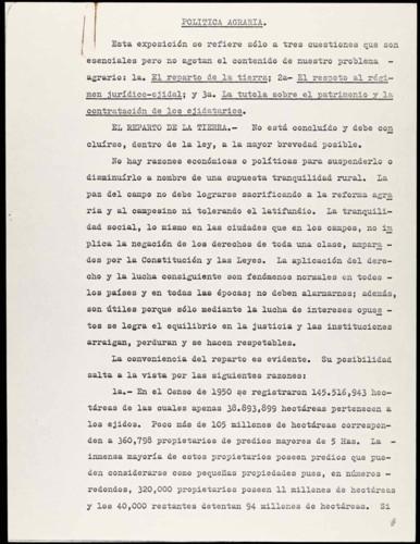 Vida laboral del general Lázaro Cárdenas: Política Agraria