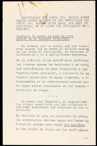 """Vida laboral del general Lázaro Cárdenas del Río: Comentarios del Ing. Emilio López Zamora a la obra """"La Irrigación en México"""" de Adolfo Orive Alba"""