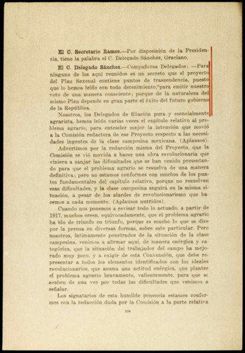Vida política del general Lázaro Cárdenas del Río: Discurso de la Comisión Nacional Agraria sobre la continuación del proyecto de plan sexenal en materia agrícola, 1934-1940.