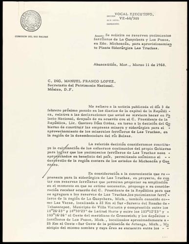 Vida laboral del general Lázaro Cárdenas: Solicitud para que se reserven yacimientos ferríferos de La Guayabera y Los Pozos.