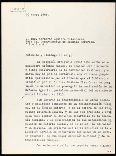 Vida laboral del general Lázaro Cárdenas: Carta de Lázaro Cárdenas al ing. Norberto Aguirre Palancares