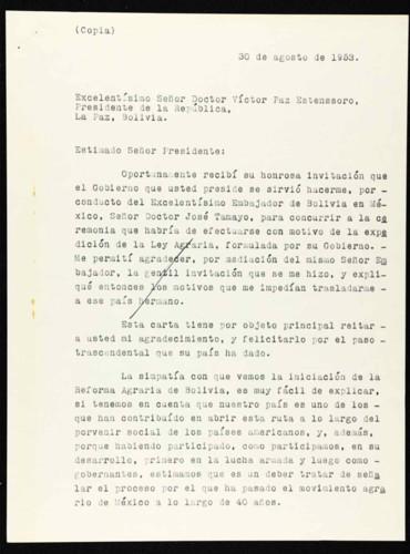 Vida laboral del general Lázaro Cárdenas: Carta de Lázaro Cárdenas a Víctor Paz Estenssoro, presidente de Bolivia