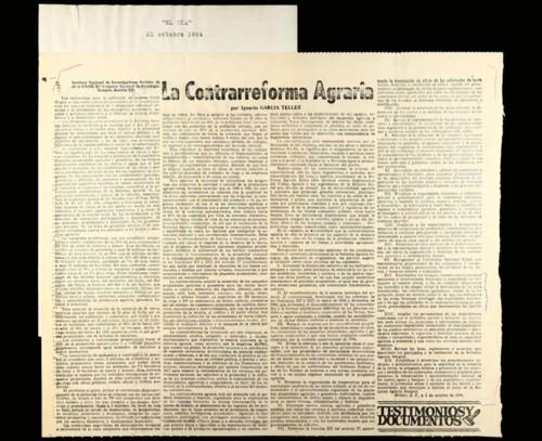 """Vida laboral del general Lázaro Cárdenas: Periódico """"El Día"""" del 21 de octubre 1964"""