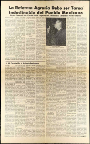 Vida laboral del general Lázaro Cárdenas: Periódico El Día. 1963, octubre 16