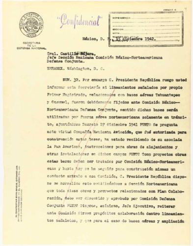 Vida laboral del general Lázaro Cárdenas: Solicitud de informes de bases aéreas
