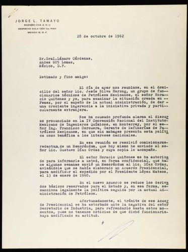 Vida laboral del general Lázaro Cárdenas: Carta de Jorge L. Tamayo al general Lázaro Cárdenas