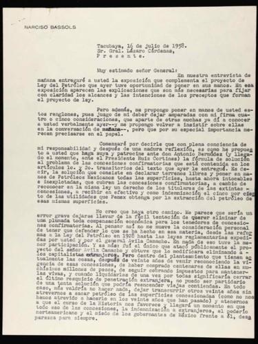 Vida laboral del general Lázaro Cárdenas: Carta de Narciso Bassols  al general Lázaro Cárdenas sobre el proyecto de Ley del Petróleo. Ley reglamentaria del artículo 27