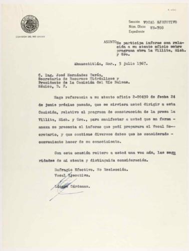Vida laboral del general Lázaro Cárdenas: Medidas para acelerar las obras de la Presa La Villita