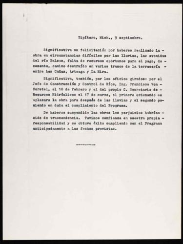 Vida laboral del general Lázaro Cárdenas: Conclusión del programa de la presa La Villita