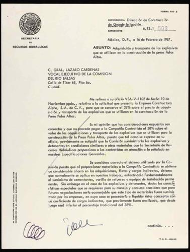 Vida laboral del general Lázaro Cárdenas: Explosivos para construcción de una presa