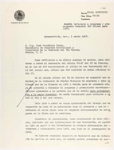 Vida laboral del general Lázaro Cárdenas: Presupuesto y programa para la Comisión del Río Balsas