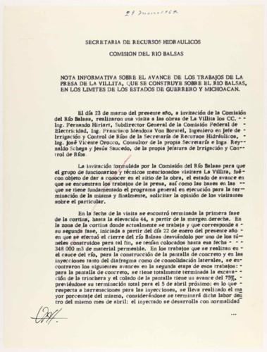 Vida laboral del general Lázaro Cárdenas: Avance en las obras de la Presa La Villita