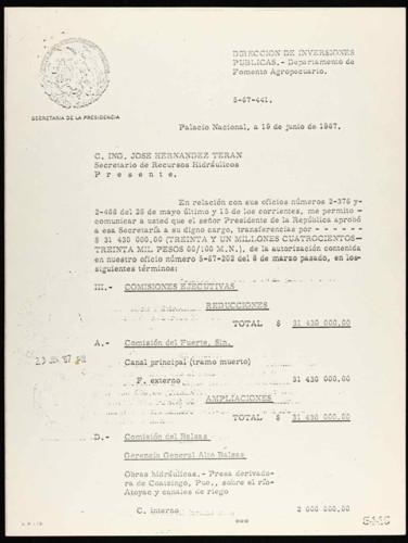 Vida laboral del general Lázaro Cárdenas: Concesión de financiamiento a la Secretaria de Recursos Hidráulicos