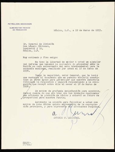 Vida laboral del general Lázaro Cárdenas: Carta de Antonio J. Bermúdez al general de división Lázaro Cárdenas, e informe.