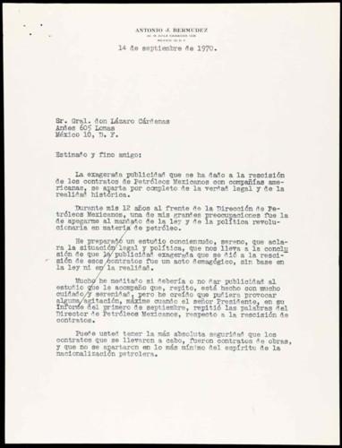 Vida laboral del general Lázaro Cárdenas: Carta de Antonio J. Bermúdez a Lázaro Cárdenas sobre los contratos de Petróleos Mexicanos