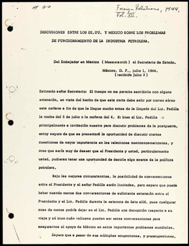 Vida laboral del general Lázaro Cárdenas: Discusiones entre los E.E.U.U. y México sobre los problemas de funcionamiento de la industria petrolera Embajador de México