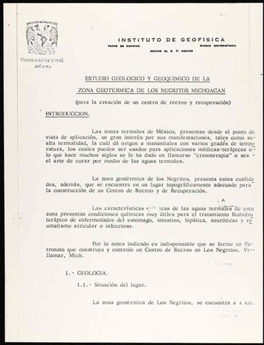 Vida laboral del general Lázaro Cárdenas: Estudio geológico y geoquímico de la zona geotérmica de los Negritos Michoacán