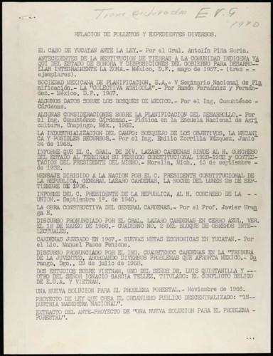Vida laboral del general Lázaro Cárdenas: Relación de folletos y expedientes
