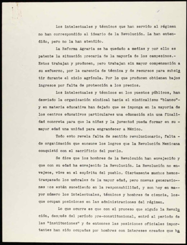 Vida laboral del general Lázaro Cárdenas del Río: Intelectuales y técnicos en puestos públicos