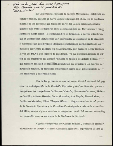 Vida laboral del ingeniero Cuauhtémoc Cárdenas Solórzano: artículo para el periódico del movimiento.