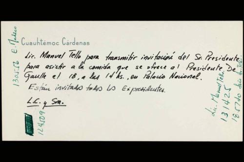 Vida personal del ingeniero Cuauhtémoc Cárdenas Solórzano: Invitación a comida.