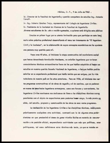 """Vida personal del ingeniero Cuauhtémoc Cárdenas Solórzano: """"El Ingeniero Civil y la Sociedad""""."""