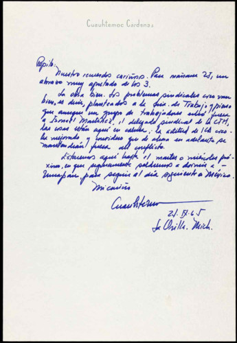 Vida personal del ingeniero Cuauhtémoc Cárdenas Solórzano: 1965. I.