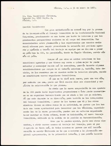 Vida personal  y laboral del ingeniero Cuauhtémoc Cárdenas Solórzano. Comentario por su incorporación al Consejo consultivo de la Confederación Nacional Campesina, CNC.