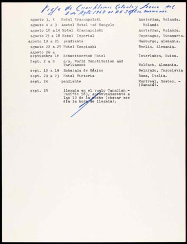 Vida personal del ingeniero Cuauhtémoc Cárdenas Solórzano. Información del viaje de Cuauhtémoc, Celeste y Lázaro del 2 de agosto al 25 de septiembre 1968.