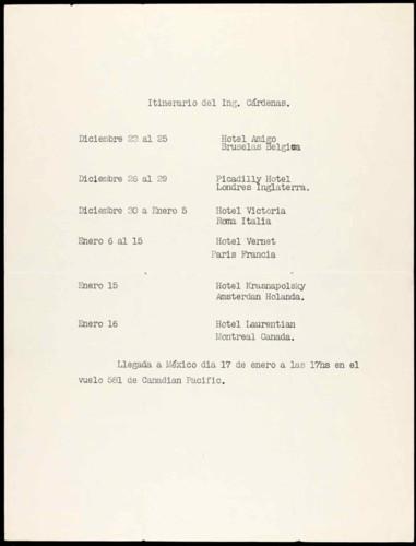 Vida personal y laboral del ingeniero Cuauhtémoc Cárdenas Solórzano. Itinerario de viaje.