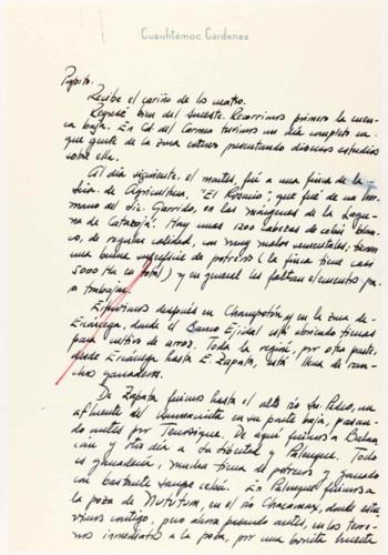 Vida personal y laboral del ingeniero Cuauhtémoc Cárdenas Solórzano. Comentarios sobre su viaje al sureste.