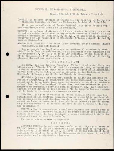 Transcripciones del Diario Oficial sobre la Secretaria de Agricultura y Ganadería.