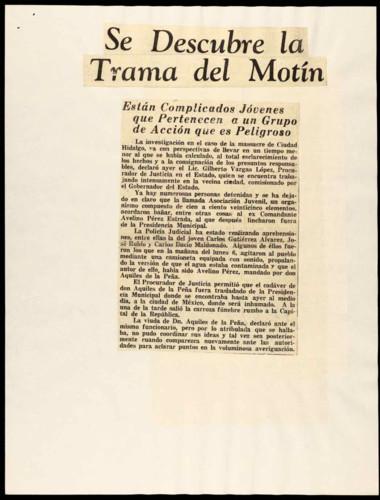 Artículos referentes a la muerte del líder campesino Aquiles de la Peña
