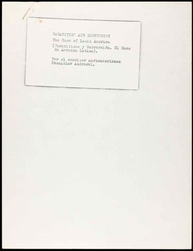 Notas referentes a la obra de Stanislav Andreski