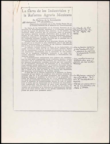 La Carta de los industriales y la Reforma Agraria Mexicana. En Defensa de la Revolución.